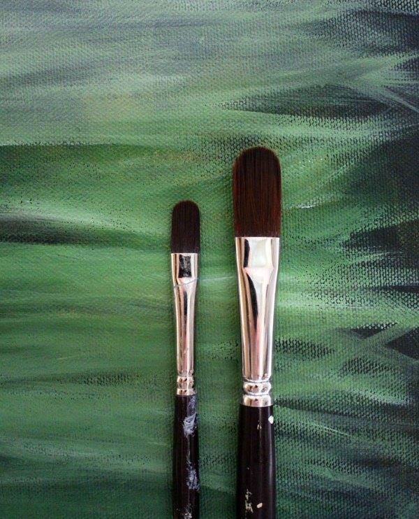 Be creative - opzet voor schilderij in diverse tinten groen - via Accessorize your Home