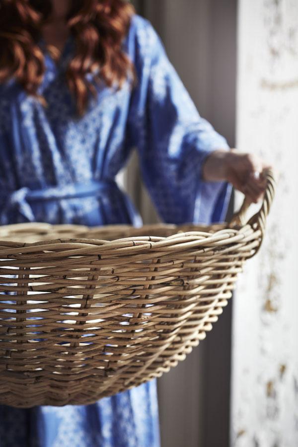 Blauwe kimino met patroon van driehoeken van gewassen linnen katoenmix - limited collectie IKEA - via Accessorize your Home