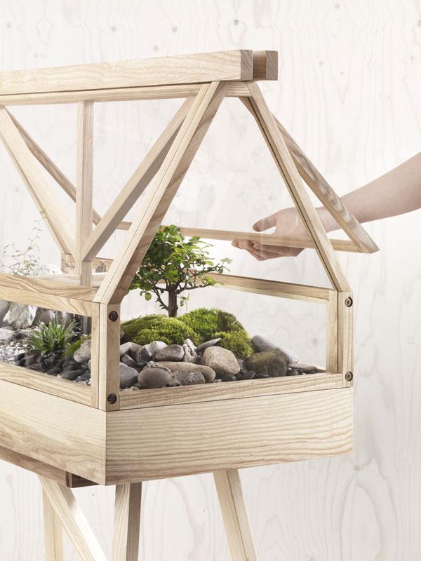 Close up van een kweekkas van lichthout gevuld met mossen, stenen en bonsaiboompjes - via Accessorize your Home