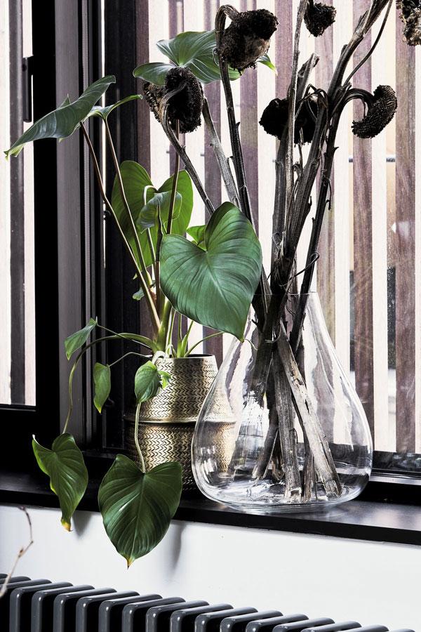 Uitgebloeide zonnebloemen in grote karaf in vensterbank - via Accessorize your Home