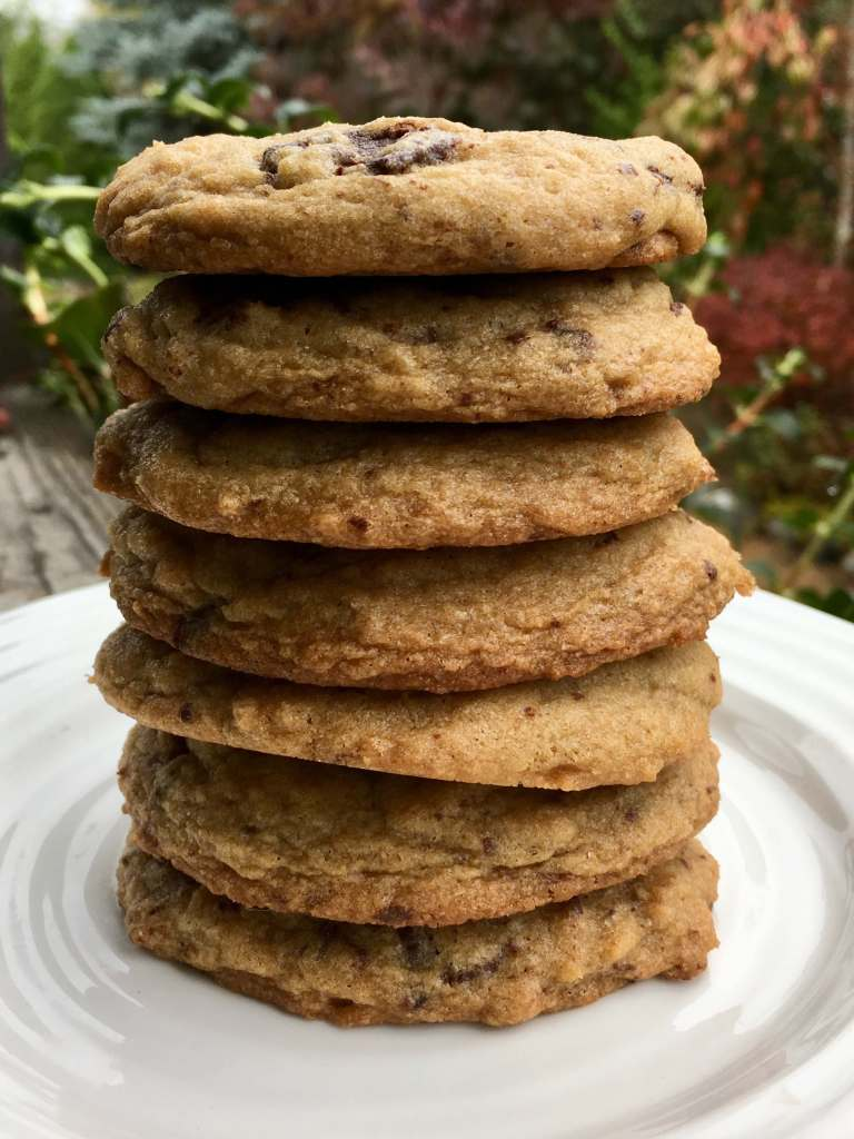 A stack of chewy chocolate chip spelt cookies on a white plate
