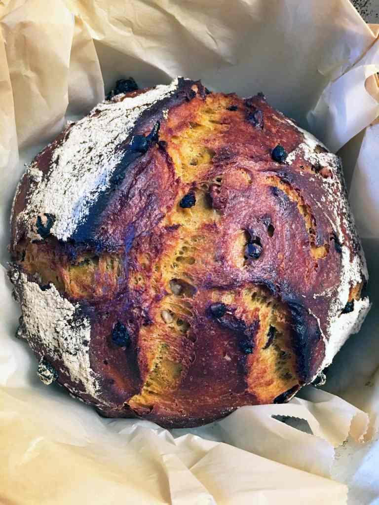 Carrot Juice, Currant and Walnut No Knead Spelt Bread | Accidental Artisan