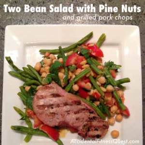Grilled Pork Chops with Two Bean Pine Nut Salad