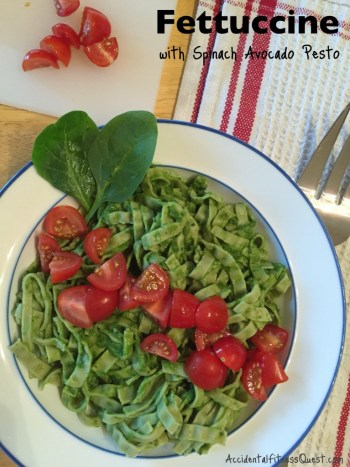 Fettuccine with Spinach Avocado Pesto
