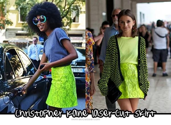Christopher Kane Neon Laser-Cut Skirt - streetstyle - cheap alternatives
