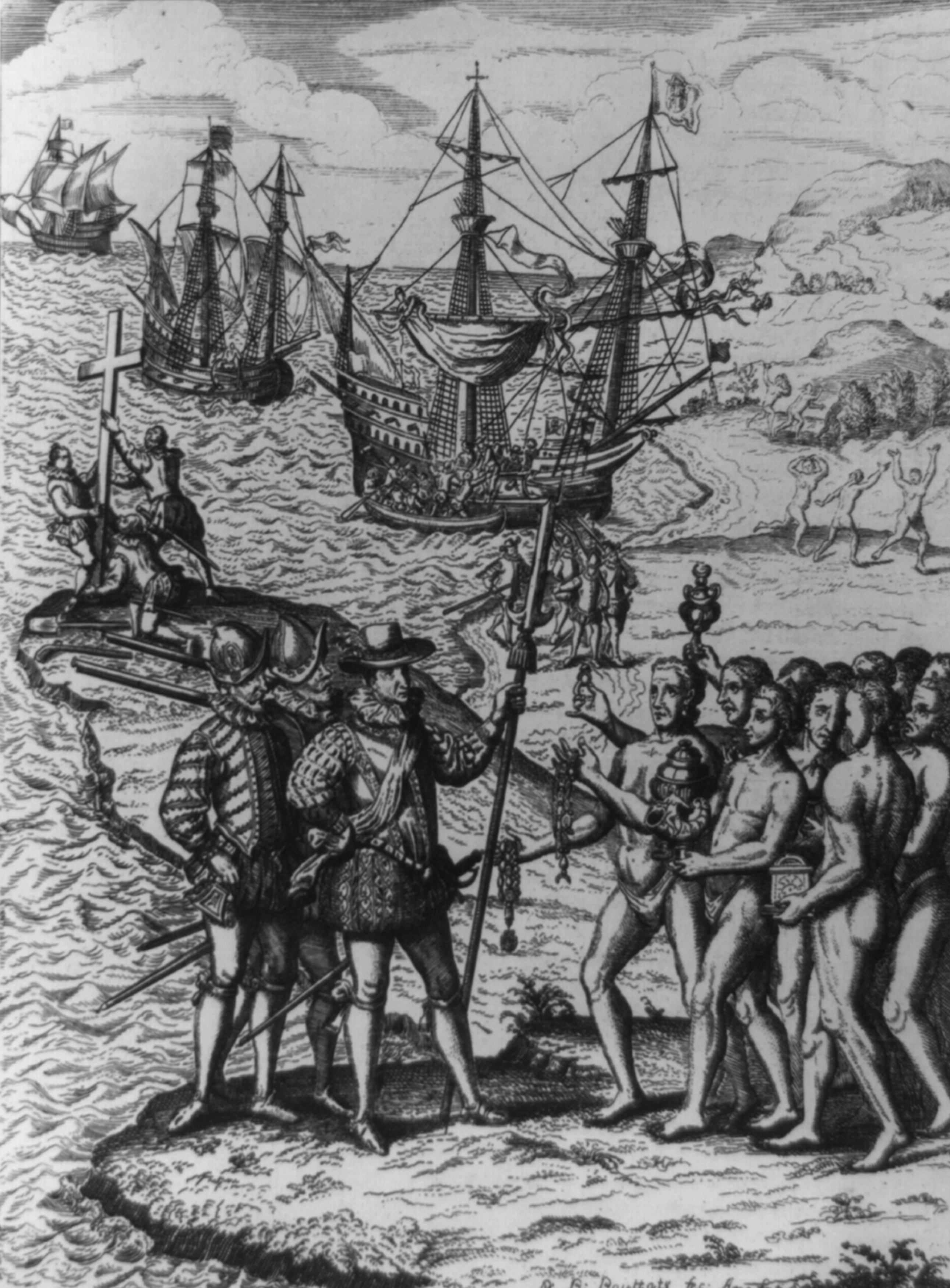 Image Of Christopher Columbus Being Greeted By Native People Upon His Landing On The Island Of
