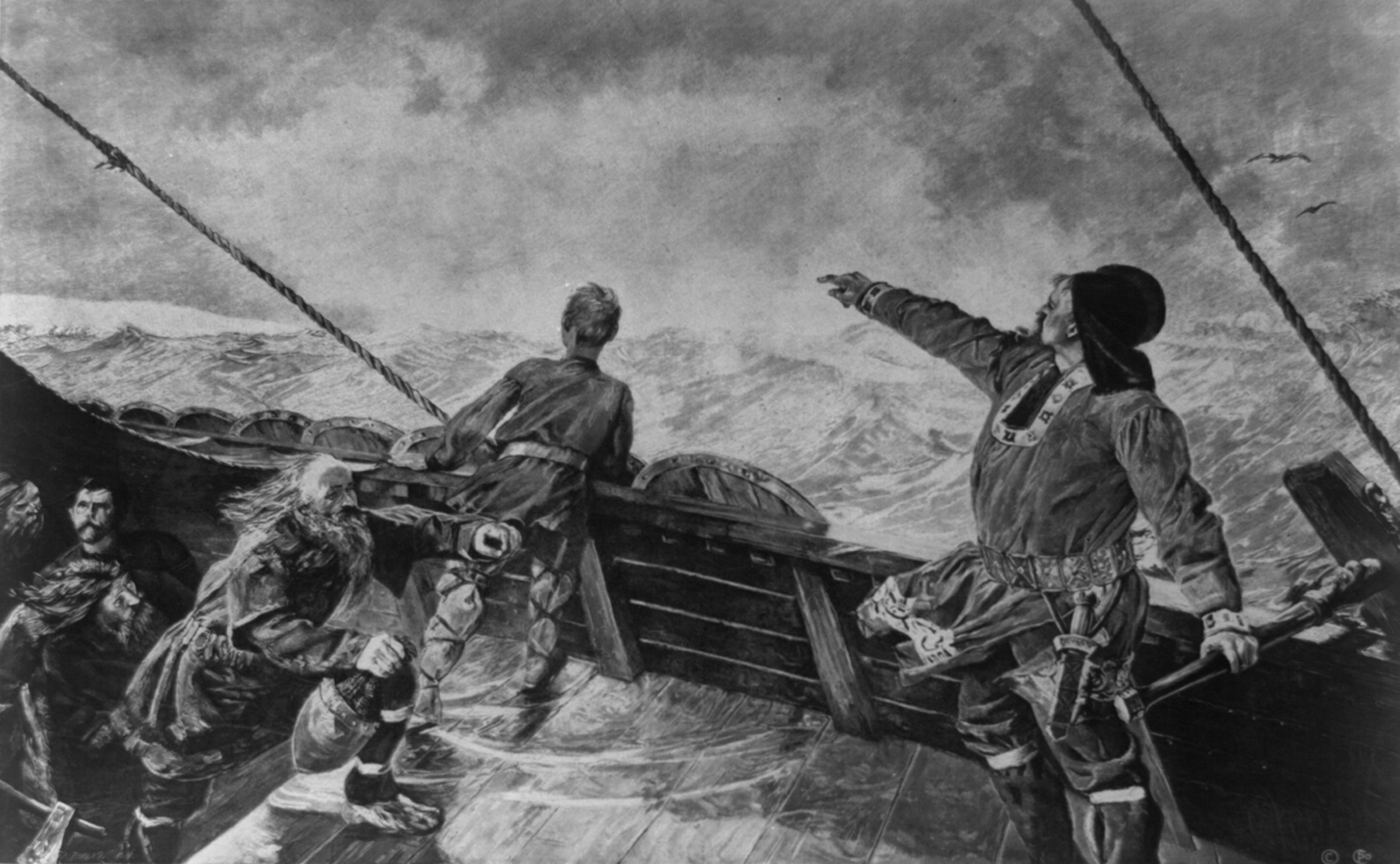 Image Of Leif Eriksson Pointing To The Shore As He Stears