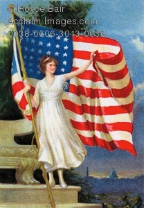 Vintage Illustration Of Lady Liberty And Old Glory