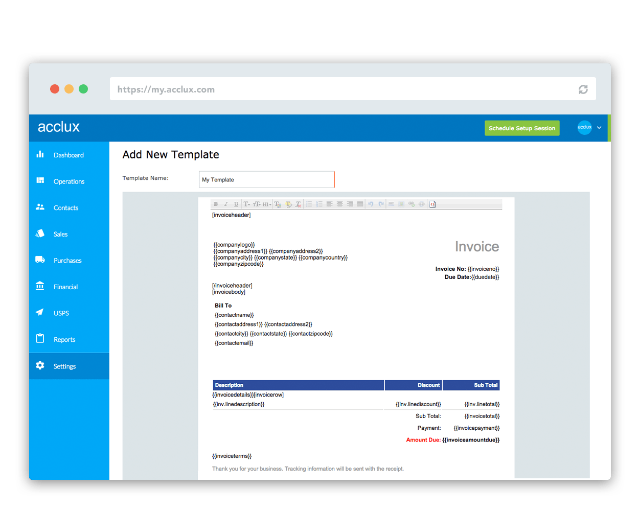 Create professional invoice with acclux