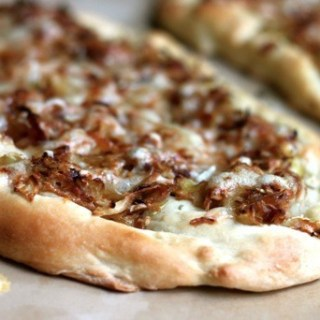 carmelized onion & cabbage flatbread