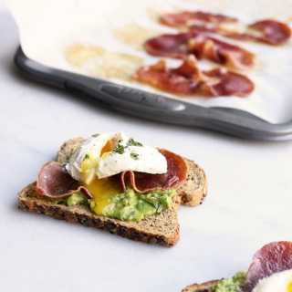 Poached Egg + Crispy Prosciutto Avocado Toast
