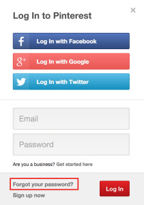 Pinterest login form