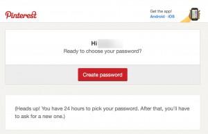 Pinterest password recover