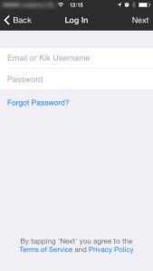 Kik Messenger log in