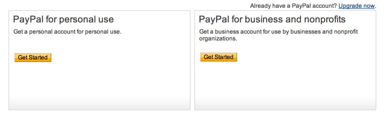 Create Paypal account