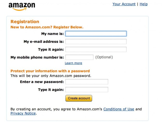 Register on Amazon