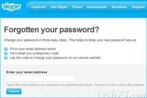 Skype forgot password