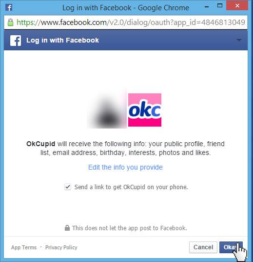 OkCupid Facebook login