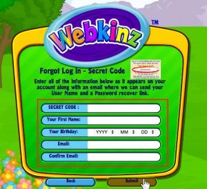 Webkinz password