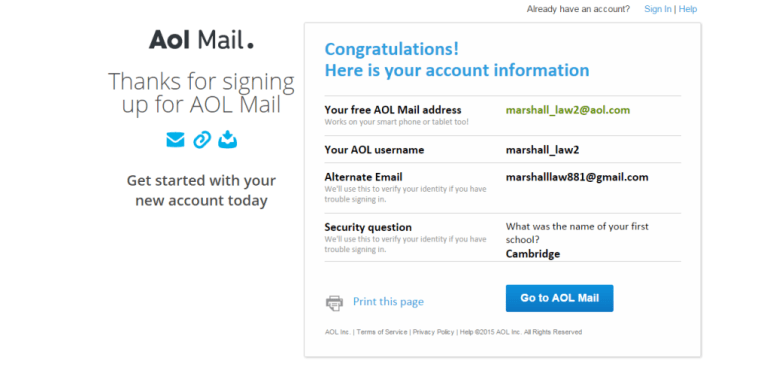 AOL signup successful