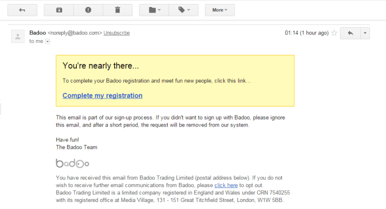 Badoo Confirmation Email
