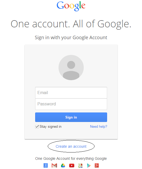 Google sign up