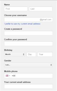 Google sign up form