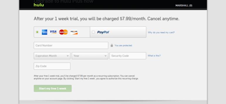 Hulu plus payment