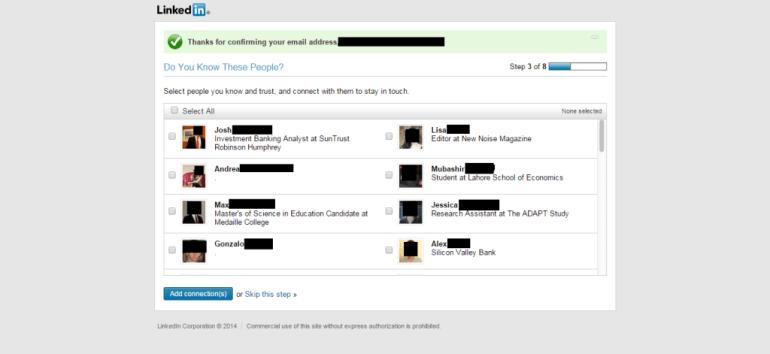 LinkedIn suggestions