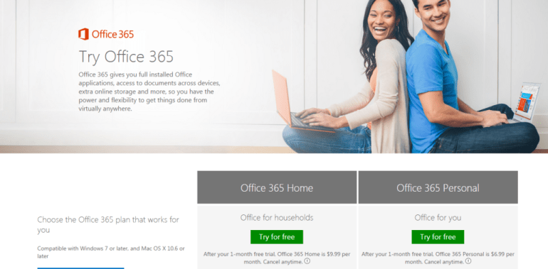 Office365 homepage