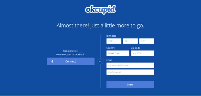 OkCupid Signup Form