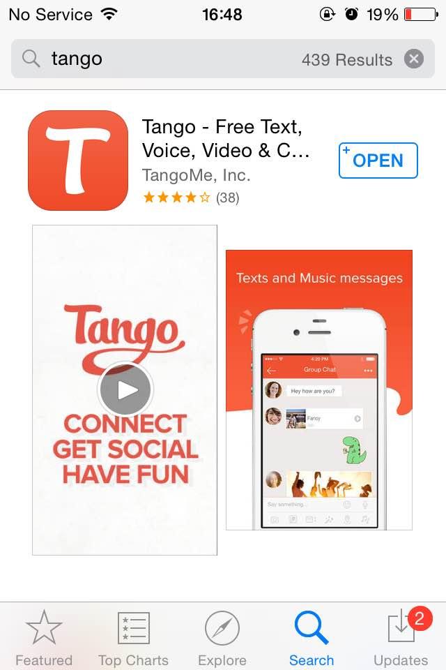 Tango in App Store