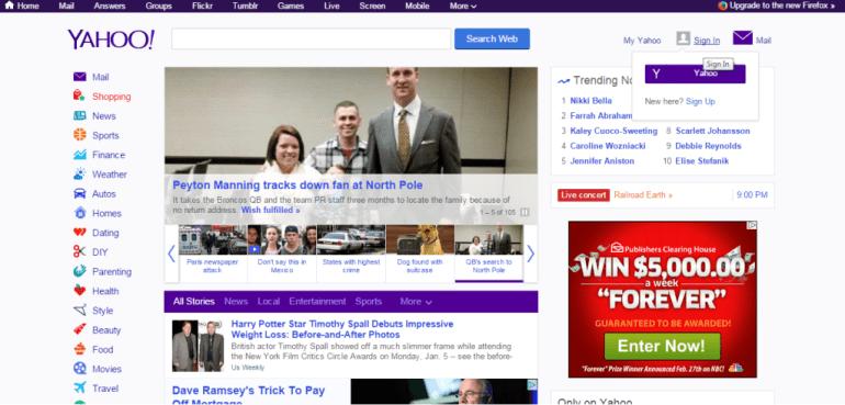 Yahoo signup