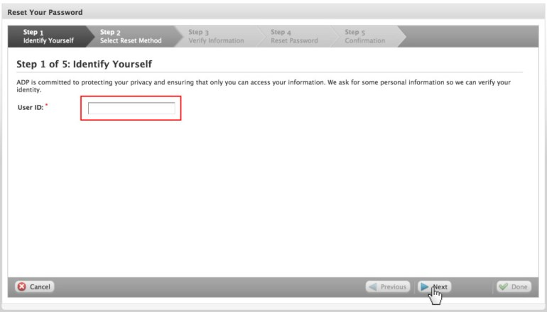 ADP Payroll password reset