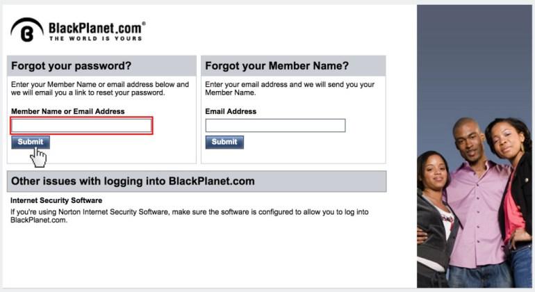 BlackPlanet password reset