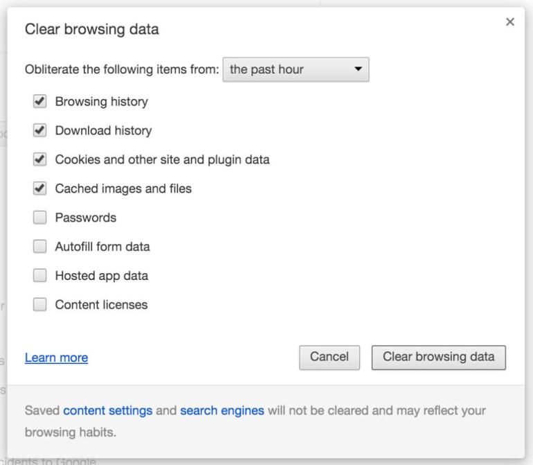 Chrome remove browser data