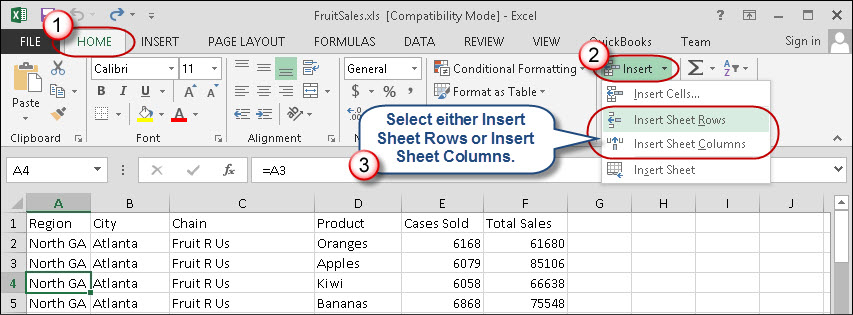 Image result for inserting rows excel 2013