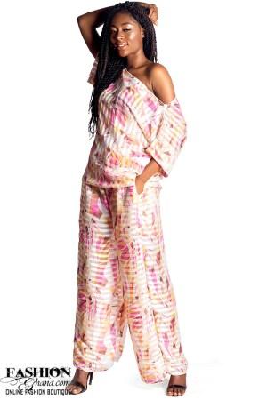 Mikoko Oversized Chiffon Print Top & Wide Pants