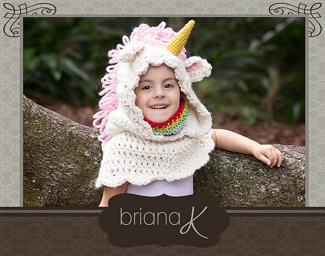 Unicorn hooded cowl - Briana K Crochet