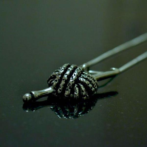 Yarn and hook pendant