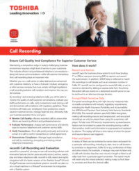 Toshiba Call Recording Informational Brochure