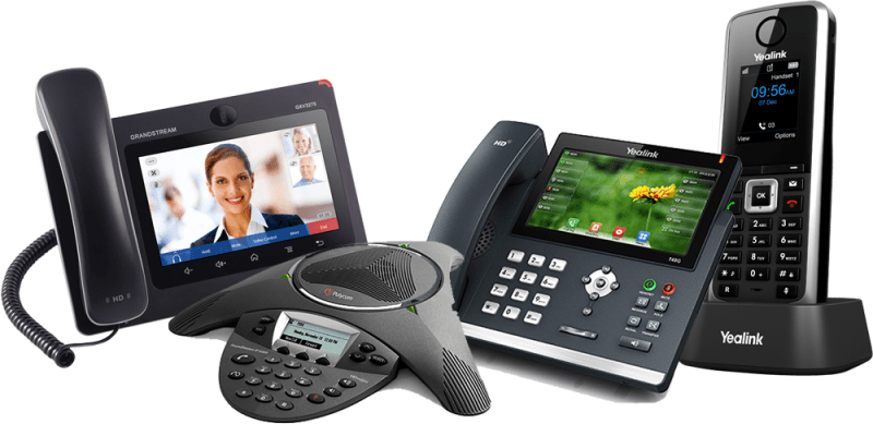 Yealink, Grandstream and Polycom IP phones supported for voip phone system