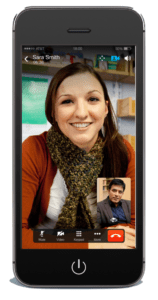 video conference call on iphone using cisco jabber that is integrated with cisco telepresence