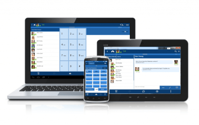 Laptop, tablet and smart phone displaying screenshots of Toshiba UCedge unified communications application for Toshiba IPedge Business Phone System