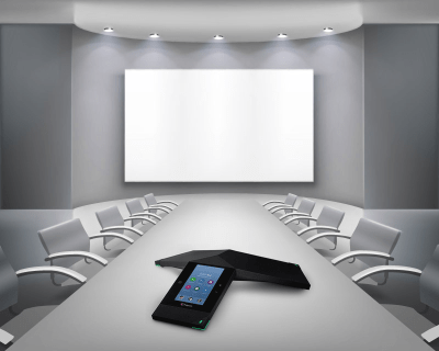 conference room with projector screen and polycom conference phone