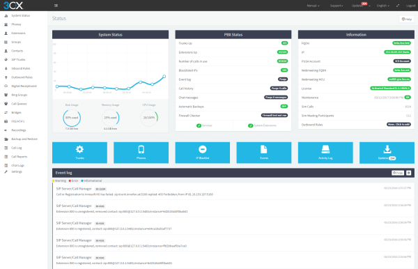 Screen shot of 3CX PBX Management portal for 3CX phone system users