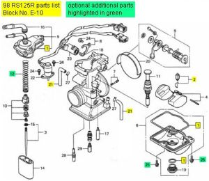 Honda RS125, 19982009  Carburetor Rebuild Kit