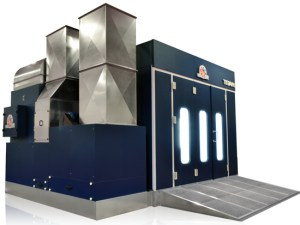 Accudraft TITAN Pitless Downdraft Automotive Paint Spray Booth in Blue Color
