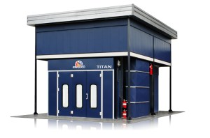 Accudraft TITAN Outdoor Paint Booth With Space Saving Overhead Air Makeup Unit