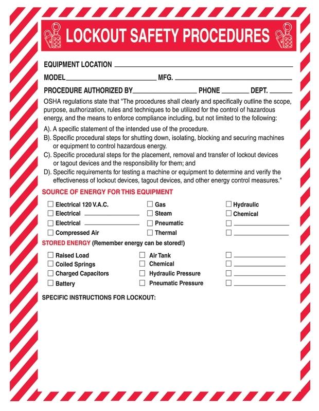 Lockout Procedure Station Lockout Safety Procedure Form